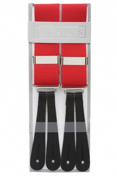 Classic Plain Red Y Back Elastic Trouser Braces With Leather Ends by Gents Shop